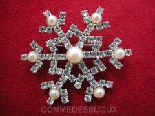 """Broche """"Flocon de Neige"""" cristal Blanc Chalet Poudreuse Ski - Bijoux pur Cadeau"""