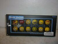 Emoji Glass Shooter Moody Marbles with Display Stand - Series 1 - New in Box