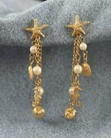 "2.75"" L Starfish Top Dangling Chains Seahorse Shells Faux Pearl Pierced Earrings"