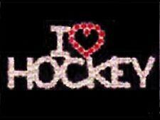 Sparkling Swarovski Crystal I (Heart) Hockey Lapel Pin - Gift Boxed