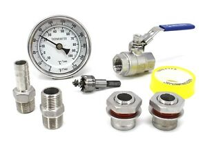 CONCORD Home Brew Kettle Stainless Steel DIY Kit w/ Thermometer Ball Valves