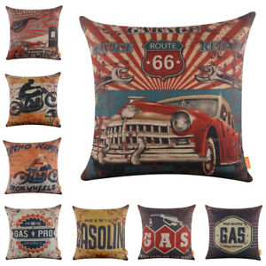 Rusted Car Cushion Cover Man Cave Decor Industrial Motorcycle Throw Pillow Case