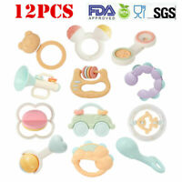 12PCS Newborn Toddler Baby Shaking Bell Rattles Teether Kids Hand Toys Non-Toxic