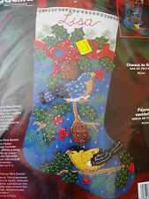Christmas Bucilla STOCKING FELT Applique Craft Kit,HOLIDAY BIRDS,Sequins,#84957