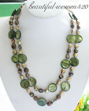 """z3592 beautiful 50"""" 20mm green coin shell coffee FW pearl necklace"""