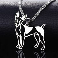 Stainless Steel American Rat Terrier RT Rattie R-Poodle Pet Dog Pendant Necklace