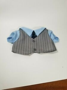 Build a Bear Clothes Blue and Gray striped Dressy Vest Tie and shirt Top Formal