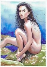 original drawing A3 99ShA art samovar nude woman Signed watercolor 2020