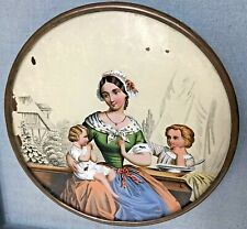 Antique Glass Chimney Flu Flue Cover Lithograph Victorian Mother & Children