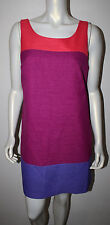 OLEG CASSINI Coral Magenta Pink Purple Color Block Dress 8 Unusual Back