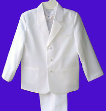 BOYS WHITE WEDDING RING BOY TUXEDO SUIT w/VEST SZ 18