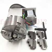 Rotary Axis 4th Axis 4Jaw 100mm Lathe Chuck Rotational 4:1 NEMA34 CNC Router