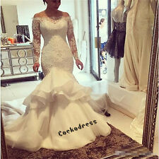 2019 Vintage Lace Appliques Mermaid Wedding Dress Long Sleeve Beaded Bridal Gown