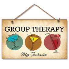 Retro Wooden Sign Wall Plaque Group Therapy My Favorite Cocktails Martini