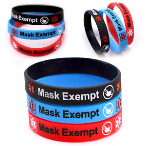 Exempt Silicone Medical Alert Bracelet Asthma Autism Face Covering