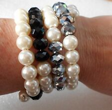 Handmade Faux Pearl and Glass Bead Bracelet - Wraparound - 5 rows