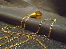 AMBER CRYSTAL GLASS STONE PENDENT NECKLACE GOLD PLATED CHAIN VTG FASHION JEWELRY