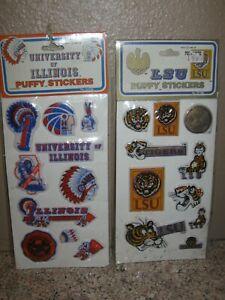 Vintage Collage 1983 Football PUFFY STICKERS LSU & University of Illinois