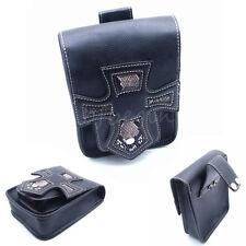 Black Motorcycle Leather Side Bag Storage Saddle Luggage Bag For Harley Davidson