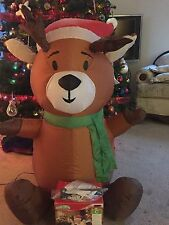 3.5ft AIRBLOWN INFLATABLE REINDEER in SANTA HAT LED LIT INDOOR or YARD Decor
