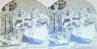 Counting Papa's Money Children Stereoview Stereoscope Photo Card W. Raw 1895