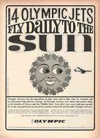 1966 Original Advertising' Vintage Olympic Airways Airlines Sun B/N