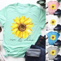 Women Sunflower T-Shirt Graphic Tee Summer Casual Short Sleeve Faith loose Tops