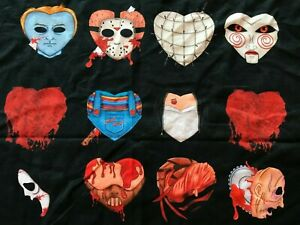 Horror Hearts Fabric Stretch Knit Panel 29x35 Valentine Movie Chucky Scream Saw+