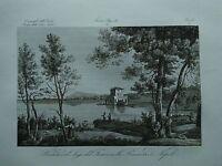 1845 Zuccagni-Orlandini Veduta del Lago del Fasaro nella Provincia di Napoli