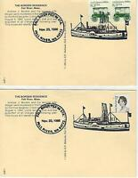 ***LIZZIE BORDEN Postcards w/Fall River Line Ship 1986 Postmark -Two postcards