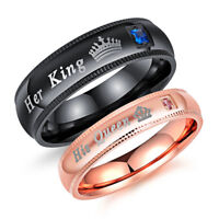 His Queen and Her King Stainless Steel Diamond Couple Rings for Lover Engagement