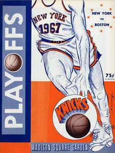 1967 NBA BOSTON CELTICS vs. NEW YORK KNICKS PLAYOFFS GAME PROGRAM (UNSCORED) NM