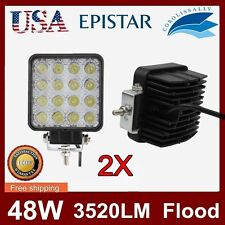 2X 48W Square LED Work Light FLOOD Beam Lamp For Tractor Offroad Truck Jeep ATV