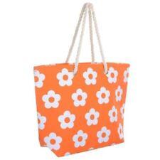 Stripe Design Lightweight Basket Style Tote Beach Bag BZ4643 Orange