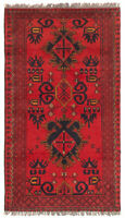 """Vintage Tribal Hand-knotted Carpet 2'4"""" x 4'2"""" Traditional Wool Rug"""