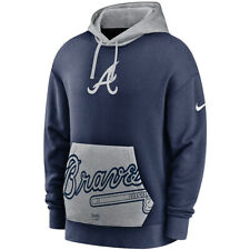New 2020 MLB Nike Atlanta Braves Heritage Tri-Blend Pullover Hoodie Sweatshirt