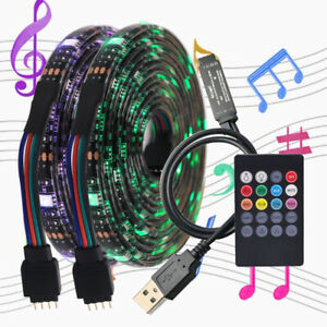 USB 5050 RGB LED Strip Streifen Licht mit Musik-Fernbedienung Mehrfarbige Band
