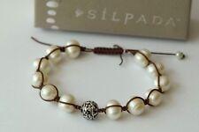 Silpada DEFECT Rugged Pearl Sterling Silver Brown Cord Adjustable Bracelet B2424