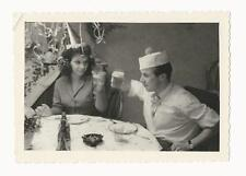 BEAUTIFUL COUPLE MAKING A BIRTHDAY TOAST IN LUCKENWALDE, GERMANY (VINTAGE PHOTO)