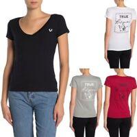 True Religion Women's Buddha Logo Script Deep V-Neck Tee T-Shirt