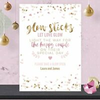 Personalised Wedding Take A Glow Stick Sign Pink & Gold Effect GFP24