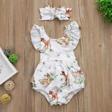 Toddler Infant Baby Girls Clothes Christmas Deer Romper+Headband 2Pcs Set Outfit