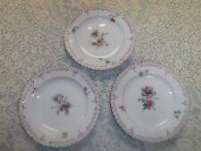 3pc Kpm Berlin Floral Salad Dessert Plates white, pink, blue