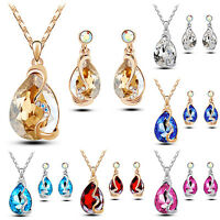 EG_ EXQUISITE DELICATE WOMEN WATERDROP CRYSTAL PENDANT NECKLACE EARRINGS JEWELRY