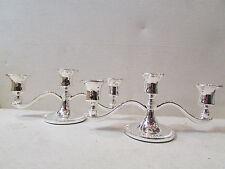 ancienne paire de bougeoirs flambeaux de table metal argenté 3 branches