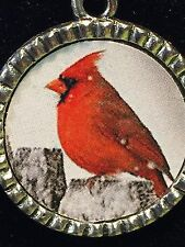 "Bird Cardinal Red on Fence in Snow Charm Tibetan Silver with 18"" Necklace G54"