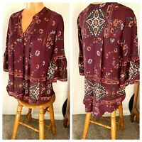KNOX ROSE ROMANTIC BURGUNDY FLORAL HI-LOW PEASANT BLOUSE TOP HIPPIE BOHO SZ S