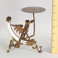 Antique French Bronze Postal Scale Porcelain Ruler Figural Winged Woman, NR