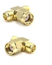 SMA Splitter T Connector Adapter RP-SMA male to 2 x RP-SMA female F51391K