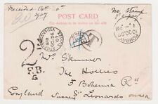 POSTAGE DUE 1907 POSTCARD, BOMBAY RAILWAY STATION TO ST.LEONARDS ON SEA